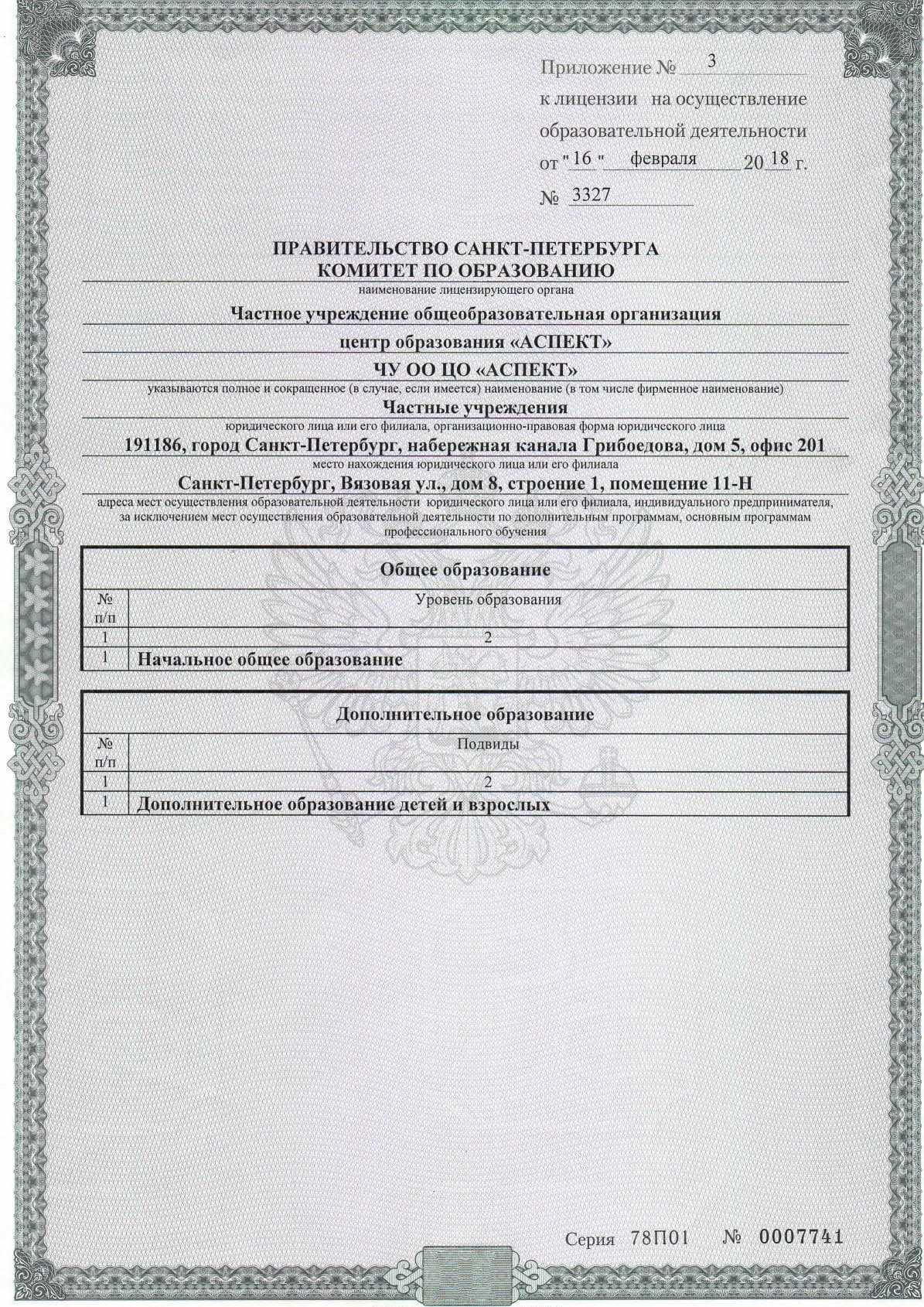 Приложение №3 к Лицении на образовательную деятельность