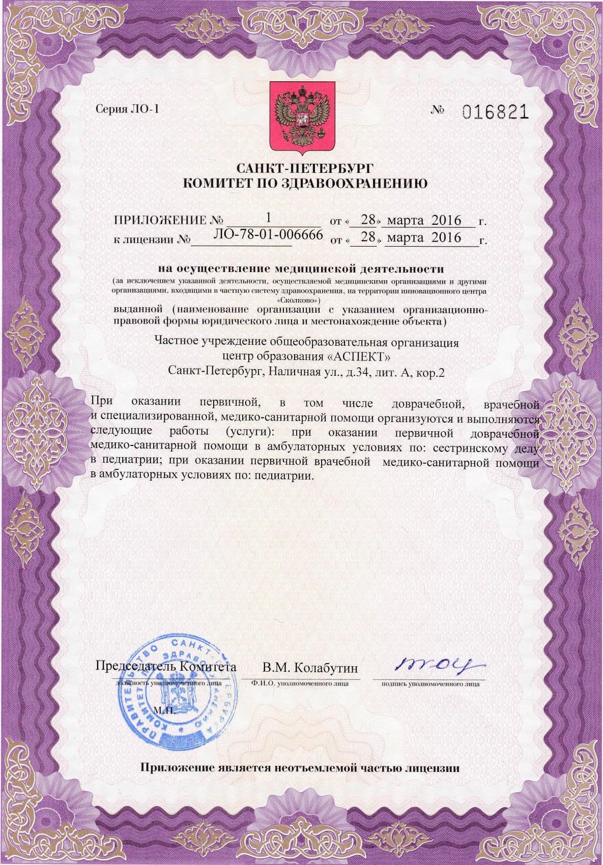 Приложение №1 к Лицении на медицинскую деятельность